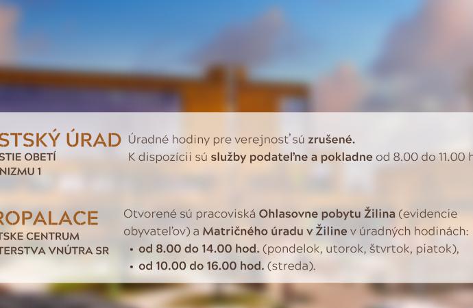 Zmena úradných hodín v Klientskom centre MV SR na Vlčincoch