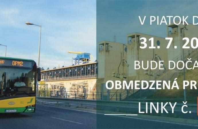 Linka č. 67 bude dnes (31.7.2020) dočasne obmedzená