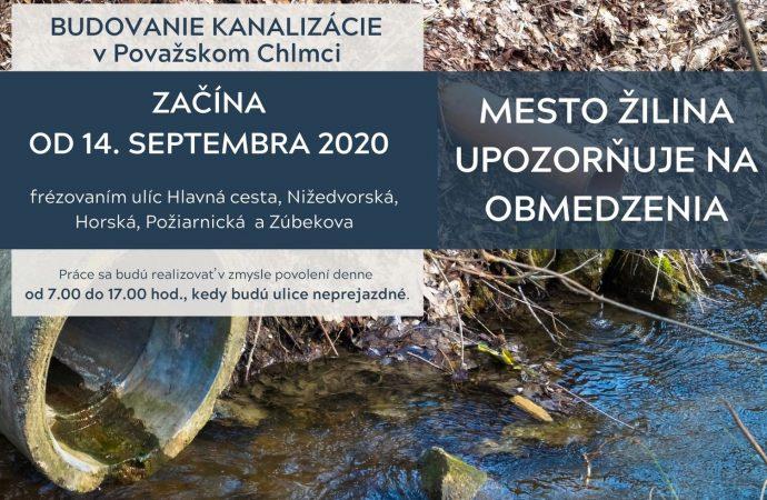 V Považskom Chlmci začnú od 14. septembra práce na budovaní splaškovej kanalizácie