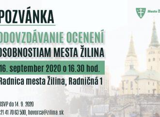 Pozývame vás na Odovzdávanie ocenení osobnostiam mesta Žilina