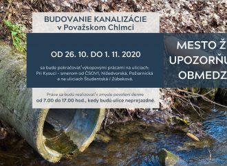 Pokračovanie prác na budovaní kanalizácie v Považskom Chlmci