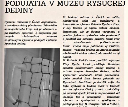 Aprílové Novinky z múzea – Kysucké múzeum v Čadci