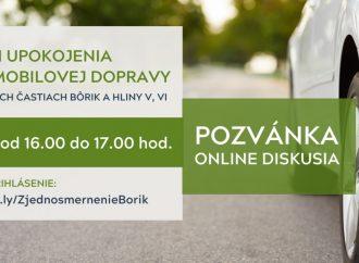 Online diskusia k návrhu upokojenia automobilovej dopravy v mestských častiach Bôrik a Hliny V, VI