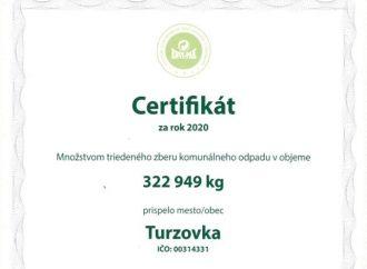Mesto Turzovka získalo certifikát za triedený zber