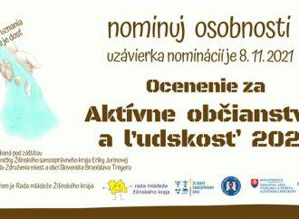 Rada mládeže Žilinského kraja v 6. ročníku ponúka obyvateľom kraja možnosť predložiť návrhy na udelenie ceny za aktívne občianstvo a ľudskosť.